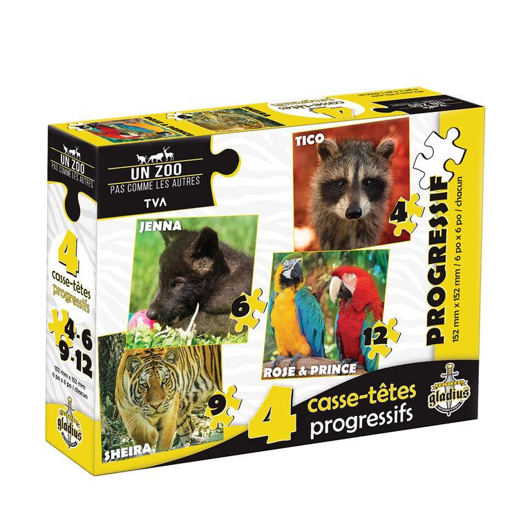 Puzzle Un zoo pas comme les autres - progressive - 4 puzzles - French Edition