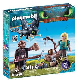 Playmobil - How To Train Your Dragon -  Harold et Astrid avec un bébé dragon