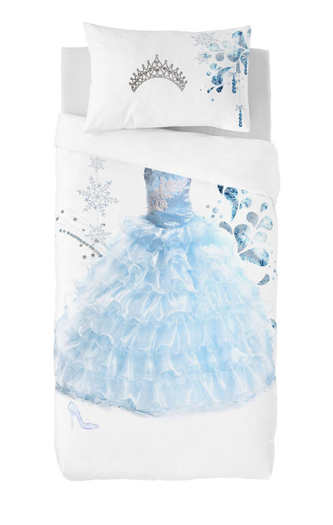 Gouchee Design - Princess Blue Digital Print Twin Duvet Cover Set