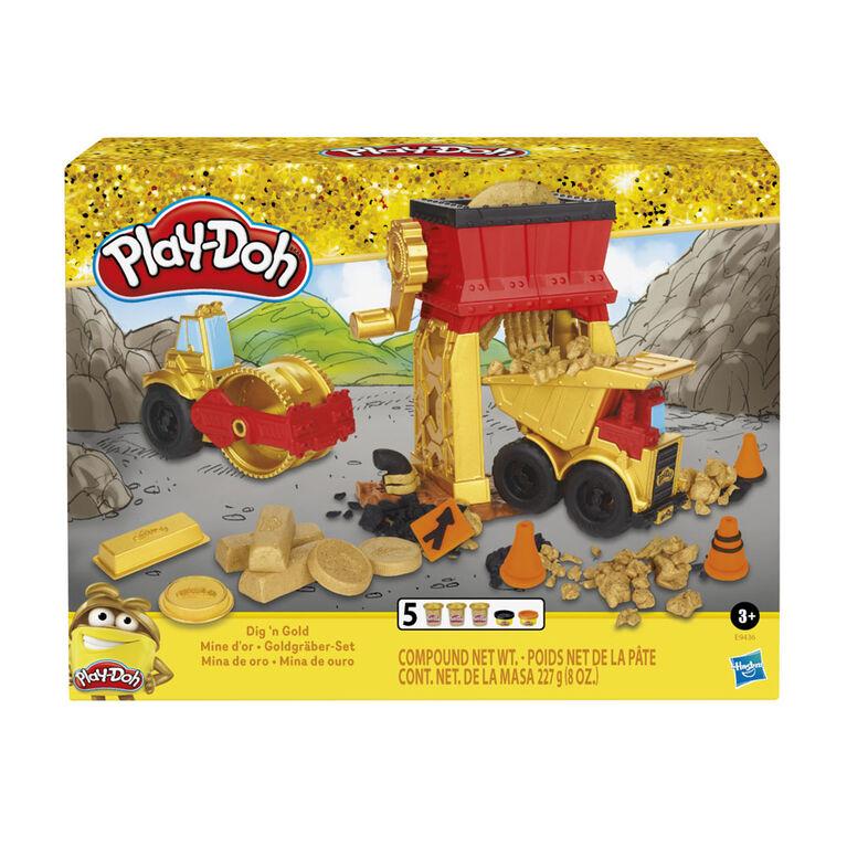 Play-Doh collection dorée, jeu Mine d'or, avec 5 pots de pâte Play-Doh, dont une de pâte dorée - Notre exclusivité