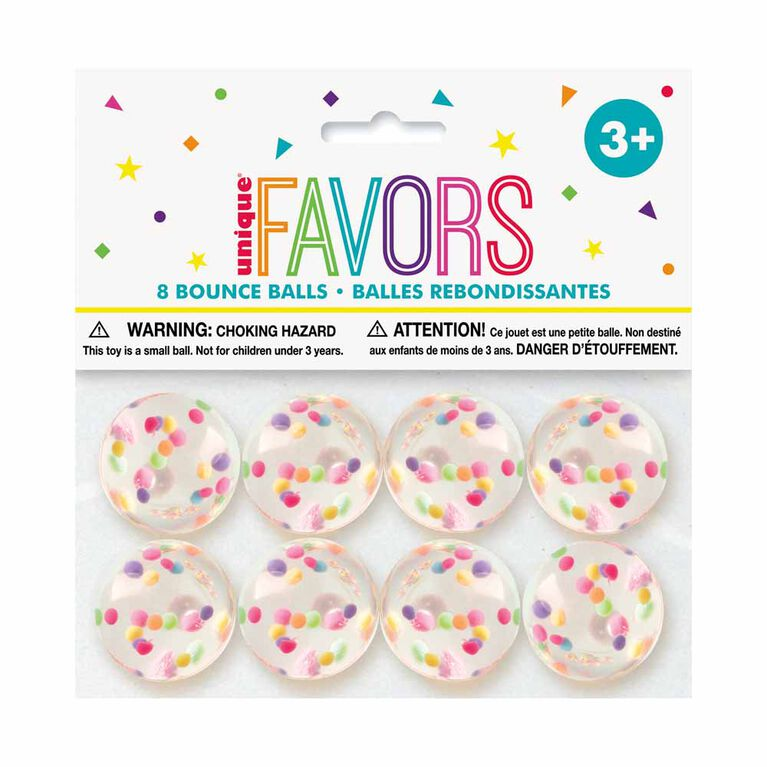 Confetti Filled Bounce Ball Favors - 8