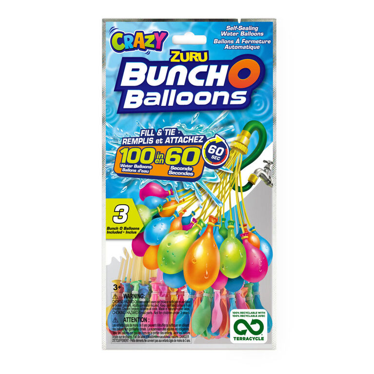 Crazy Bunch O Balloons 100 Rapid-Filling Self-Sealing Water Balloons (3 Pack)