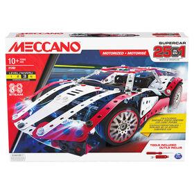 Meccano, Kit de construction STEM, Supercar motorisée 25 en 1 avec 347 pièces, vrais outils et feux avant fonctionnels