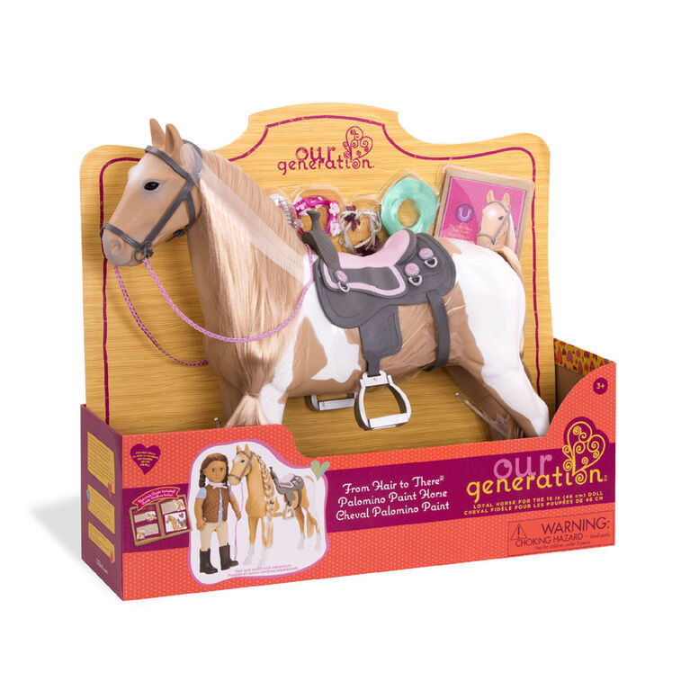 Our Generation, From Hair To There Palomino Paint Horse, 20-inch Hair Play Horse