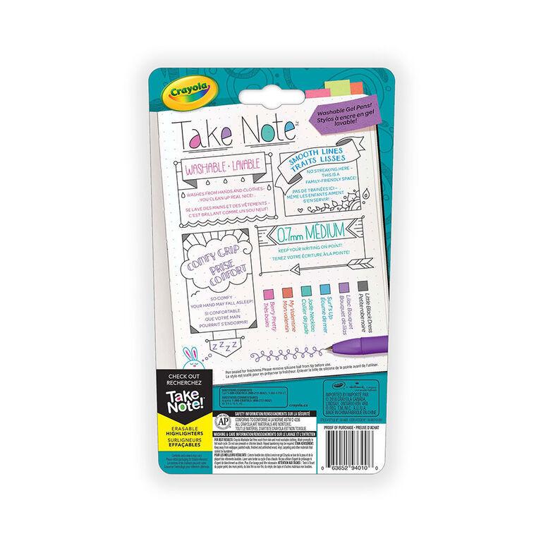 Crayola Take Note! Washable Gel Pens, 6 ct