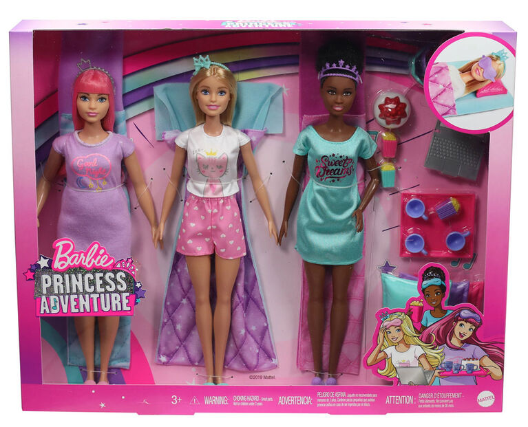 Barbie Princess Adventure Playset with 3 Barbie Dolls and Slumber Party Accessories