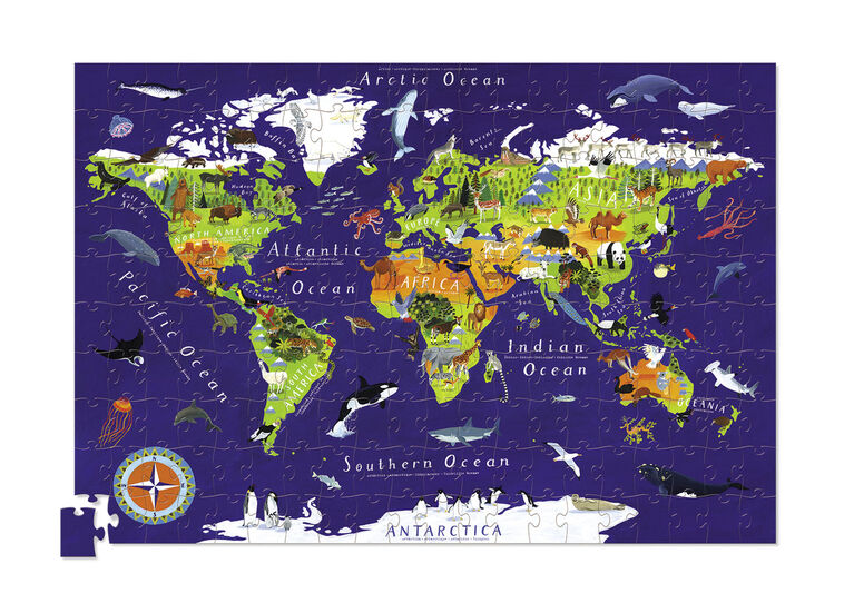 Crocodile Creek - World Map 200 piece Jigsaw Puzzle and Matching Poster