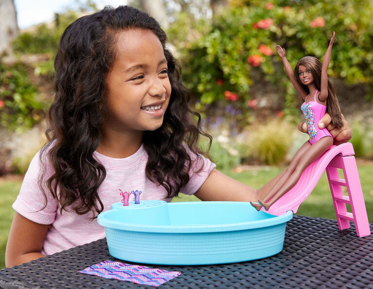 Barbie Doll, 11.5-inch Brunette, and Pool Playset with Slide and Accessories