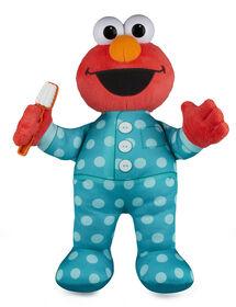 Sesame Street Brushy Brush Elmo 12-inch Plush, Sings the Brushy Brush Song - English Edition