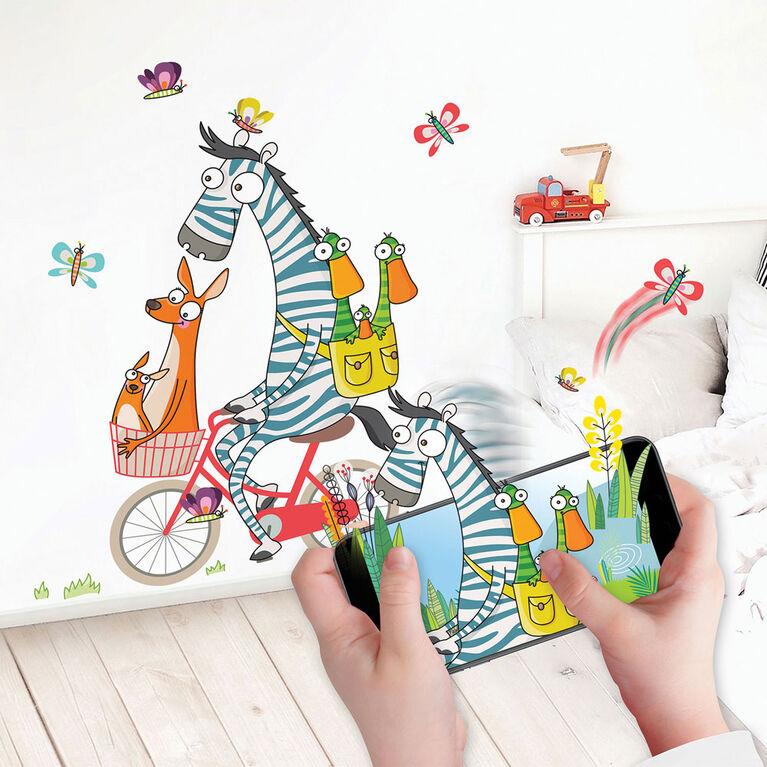 Wall Stories autocollants muraux pour enfants - Découvrir les chiffres - Autocollants muraux interactifs pour chambre d'enfants - Grand autocollant mural avec application de jeu et d'activité gratuite