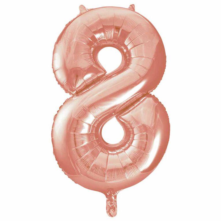 """Ballon en aluminium en forme de nombre en or rose 34"""" - 8"""