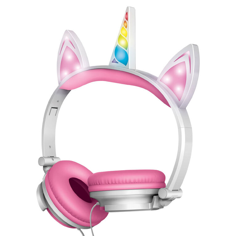 Art+Sound Unicorn Wired Headphones with LED Lights - Pink