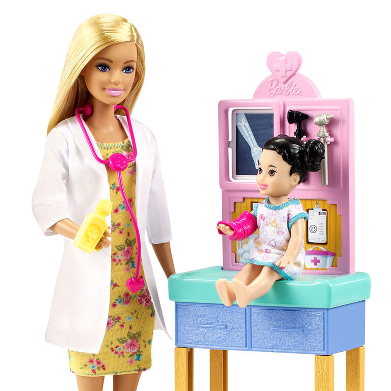 ​Barbie Pediatrician Playset, Doll (12-in/30.40-cm), Exam Table, X-ray, Stethoscope, Tool, Clip Board, Patient Doll, Teddy Bear