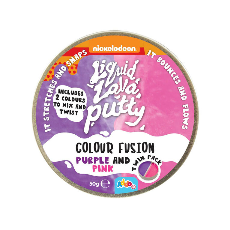 Nickelodeon - Pâte Liquid Lava Putty Colour Fusion - Purple and Pink (mauve et rose) - Notre exclusivité