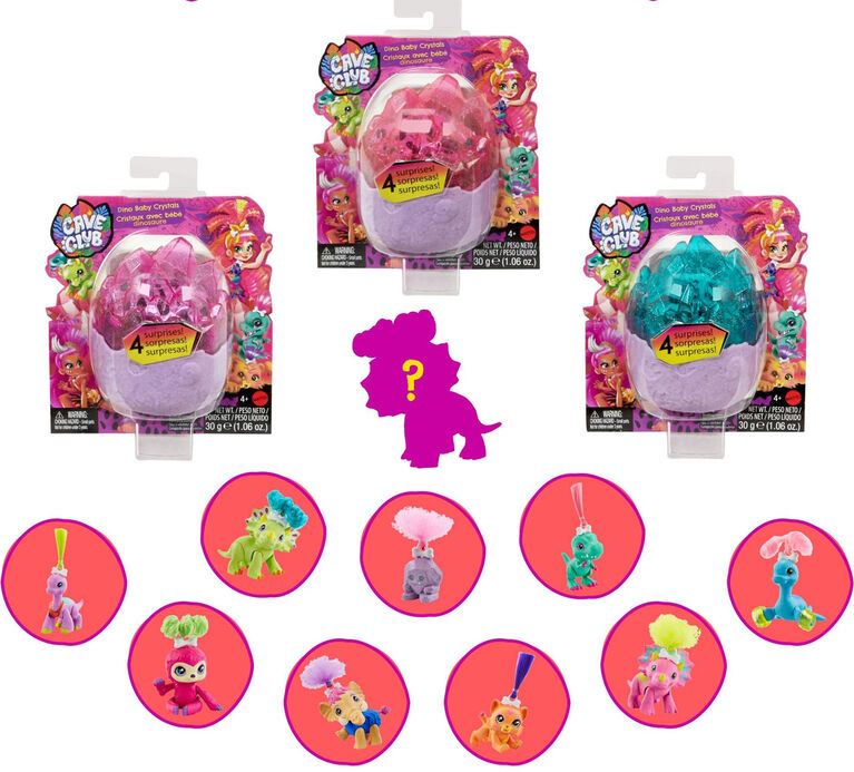 Cave Club Dino Baby Crystals Surprise Pet with Accessories and Slime or Sand - Styles May Vary