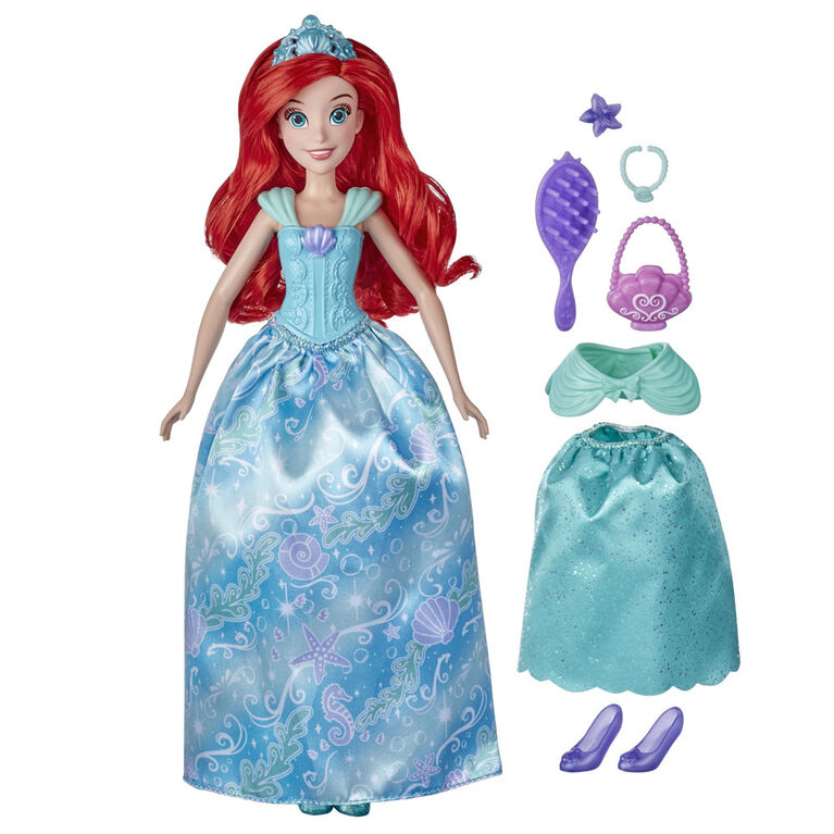 Disney Princess Style Surprise Ariel Fashion Doll with 10 Fashions and Accessories, Hidden Surprises Toy