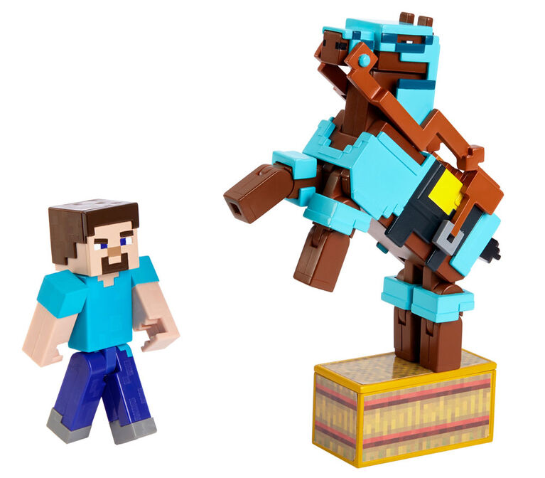 Minecraft Comic Maker 2-Pack Figures Steve and Armoured Horse - English Edition