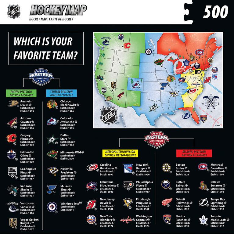 NHL Hockey Map 500 Piece Jigsaw Puzzle