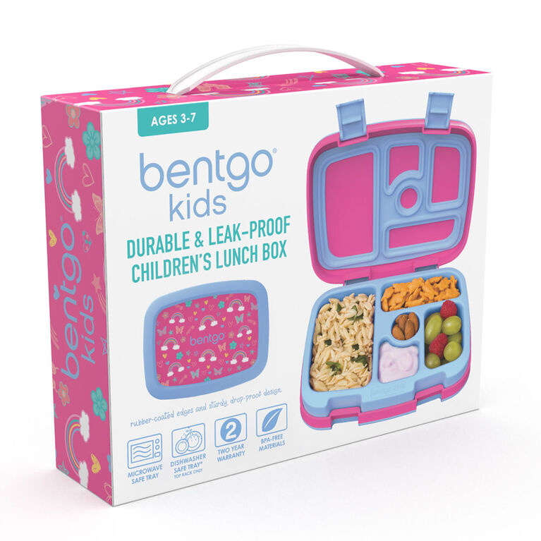 Bentgo Kids Prints Leak-Proof, 5-Compartment Bento-Style Kids Lunch Box - BPA-Free and Food-Safe Materials - 2020 Collection - Rainbows and Butterflies - English Edition