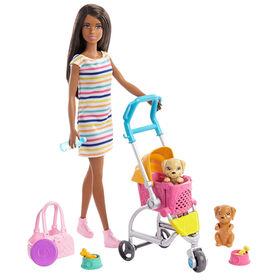 Coffret de jeu Chiots Promenade et jeu Barbie avec poupée Barbie, 2chiots et poussette pour animaux