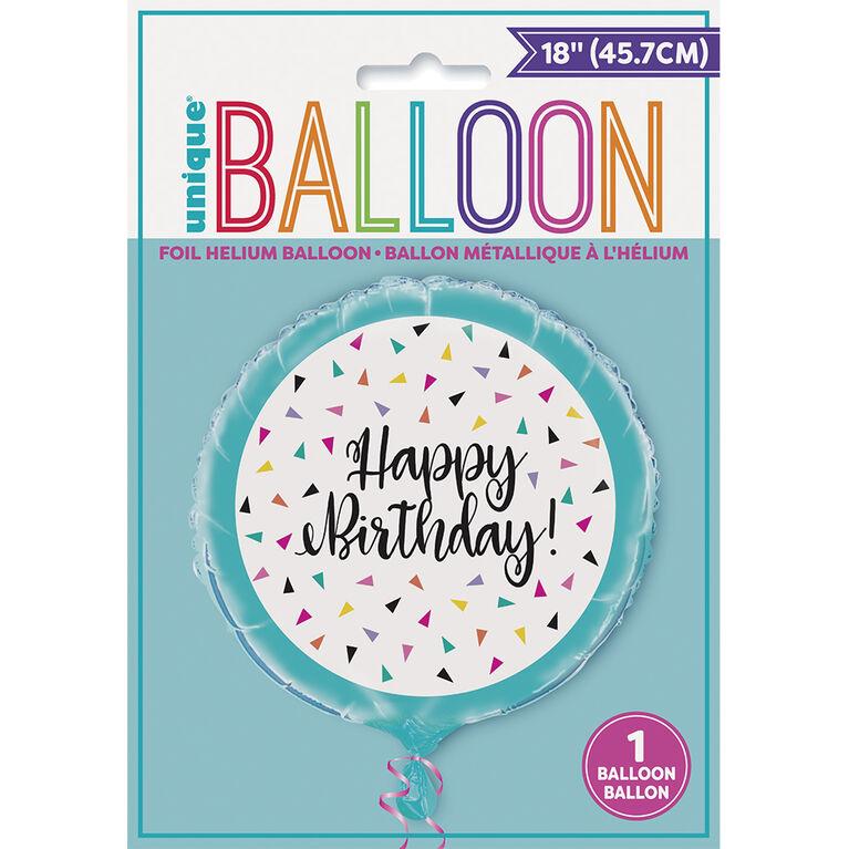 "Ballon aluminium rond, 18 "" - Triangle Confetti - Édition anglaise"