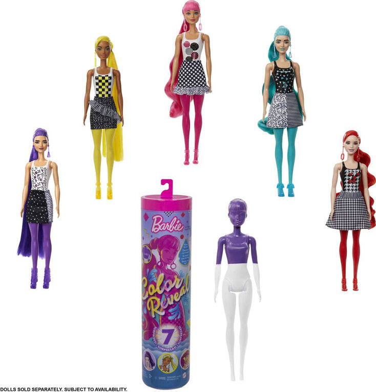 Barbie - Assortiment Barbie Color Reveal Monochrome, 7 Surprises