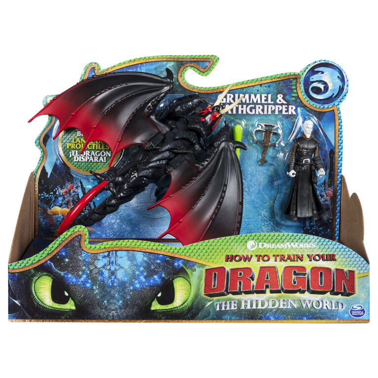 How To Train Your Dragon, Deathgripper et Grimmel, Dragon avec figurine Viking en armure.