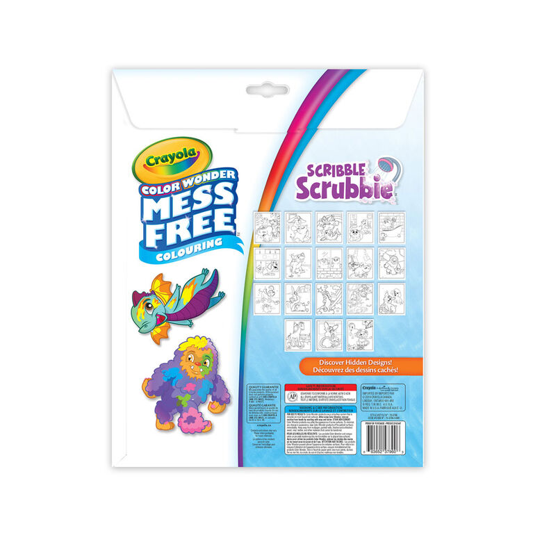 Crayola Color Wonder Mess-Free Colouring Pages & Mini Markers, Scribble Scrubbie Pets