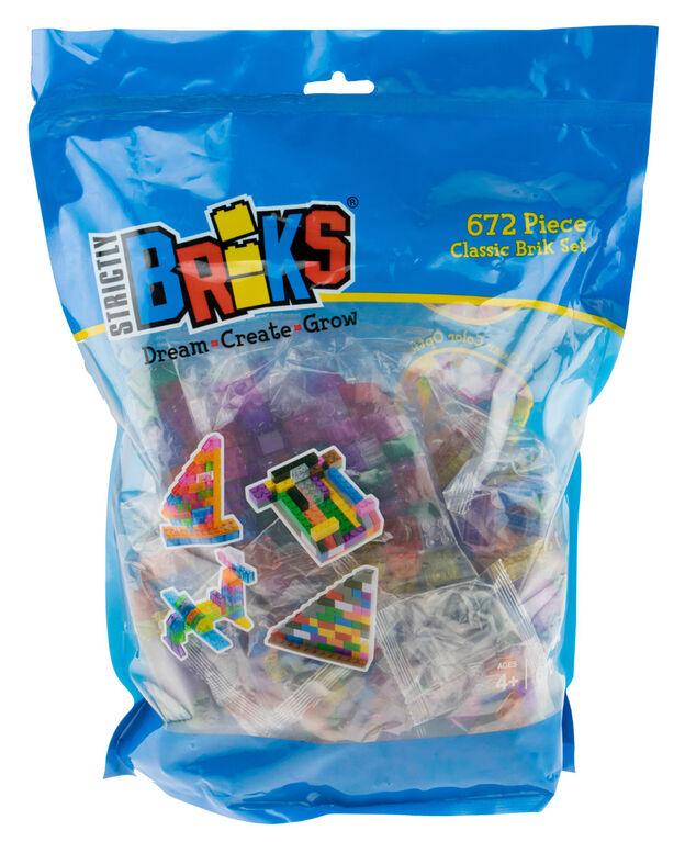 Strictly Briks - Brik Set - 672 Pieces - 12 Rainbow Colours