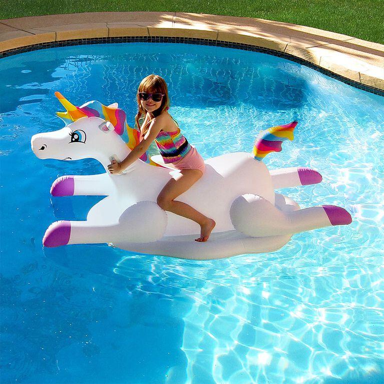 Cloud Rider Rainbow Unicorn Inflatable Ride-On Pool Float