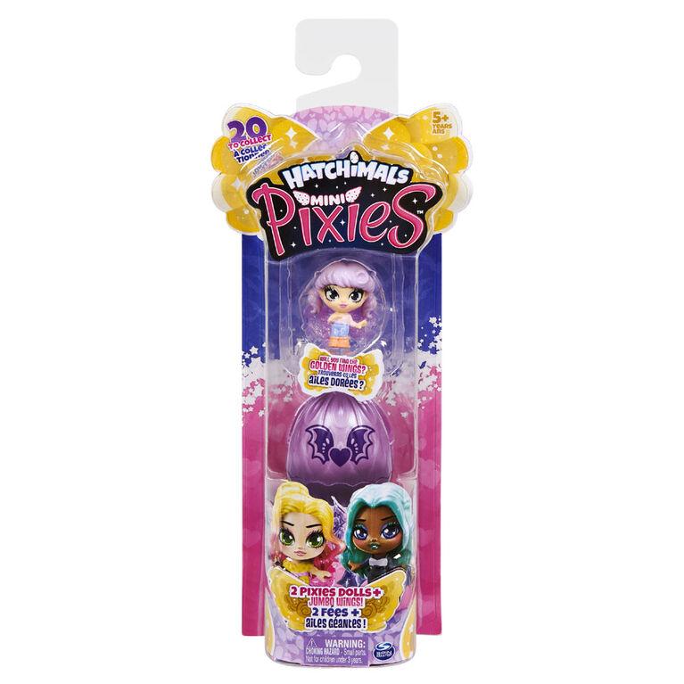 Hatchimals Mini Pixies, Coffret de 2 figurines de 3,8 cm à collectionner avec ailes à combiner (les styles peuvent varier)