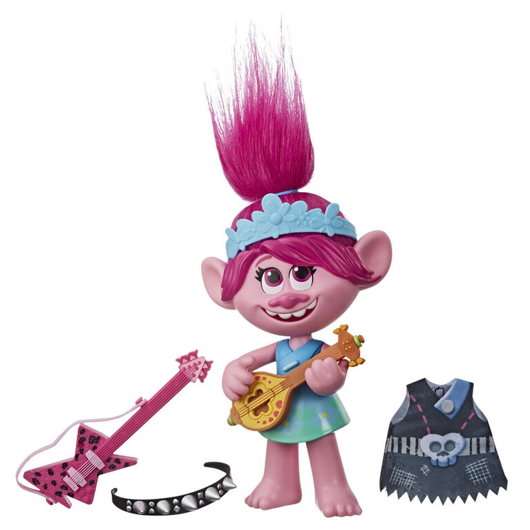 Trolls World Tour Pop-to-Rock Poppy Singing Doll - French Version