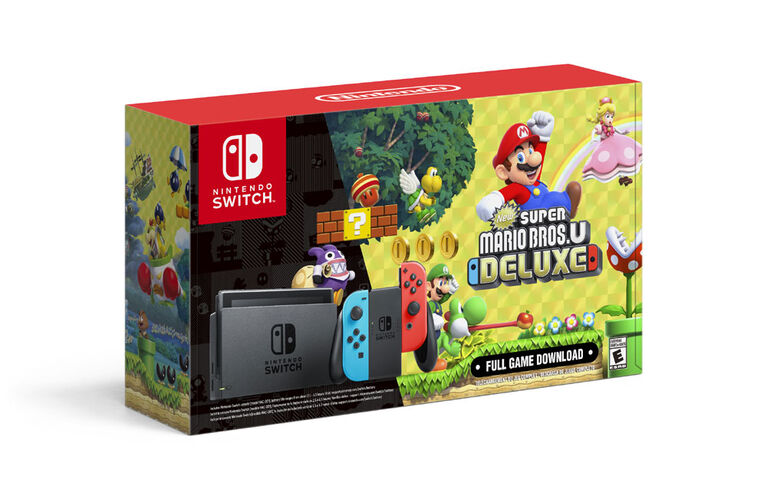 Nintendo Switch with Neon Blue & Neon Red Joy-Con and New Super Mario Bros. U Deluxe