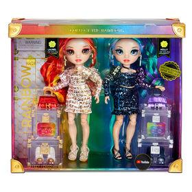 Poupées-mannequins Rainbow High de série spéciale, paquet de 2 jumelles, Laurel and Holly De'Vious -vêtues de tenues imprimées métallisées aux couleurs de l'arc-en-ciel avec accessoires de poupée - excellent cadeau et jouet pour les enfants de 6 à 12 ans