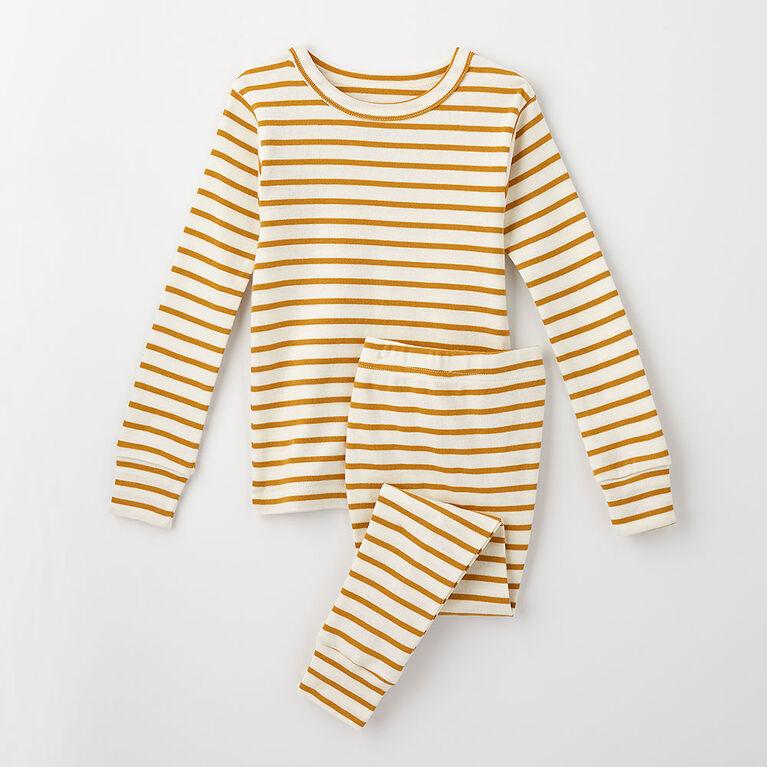 4 ans pyjama deux pièces en coton biologique - rayures miel
