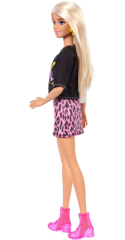 """Barbie Fashionistas Doll with Long Blonde Hair Wearing """"Rock"""" Graphic T-Shirt"""