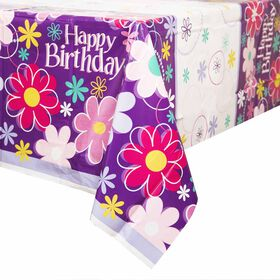 "Birthday Blossoms table cover 54""x84"" - English Edition"