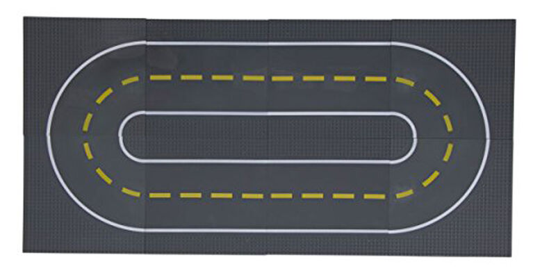 """Strictly Briks - Stackable Road Baseplates - 10"""" x 10"""" - 32 x 32 pegs - 8 Baseplates - 4 Straight and 4 Curved"""