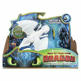 How To Train Your Dragon, Lightfury and Hiccup, Dragon with Armored Viking Figure