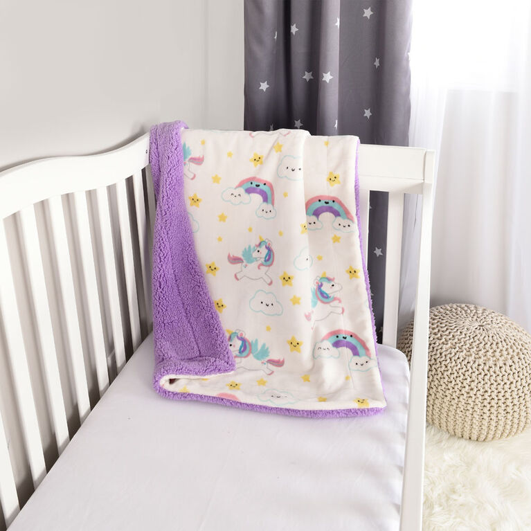 Baby's First By Nemcor Couverture de bébé en sherpa ultime- Design de Licorne