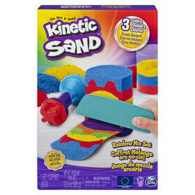 Kinetic Sand, Coffret Mélange arc-en-ciel avec3couleurs de sable Kinetic Sand (382g) et 6outils