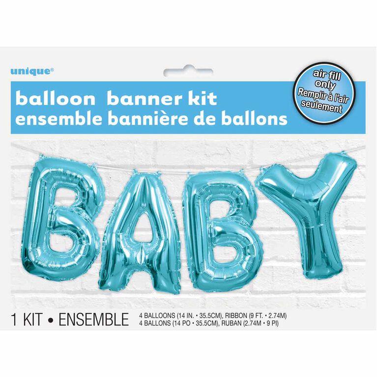 Ensemble Banniere De Ballons Bleu Bebe - Édition anglaise