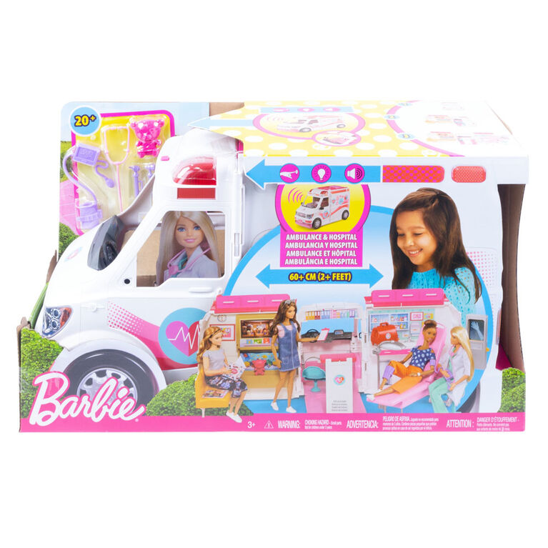 Barbie Care Clinic Vehicle Playset, 2+ feet with Lights & Sounds