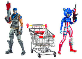 Fortnite Shopping Cart with 7 Inch Premium Action Figures - Warpaint & Fireworks Team Leader
