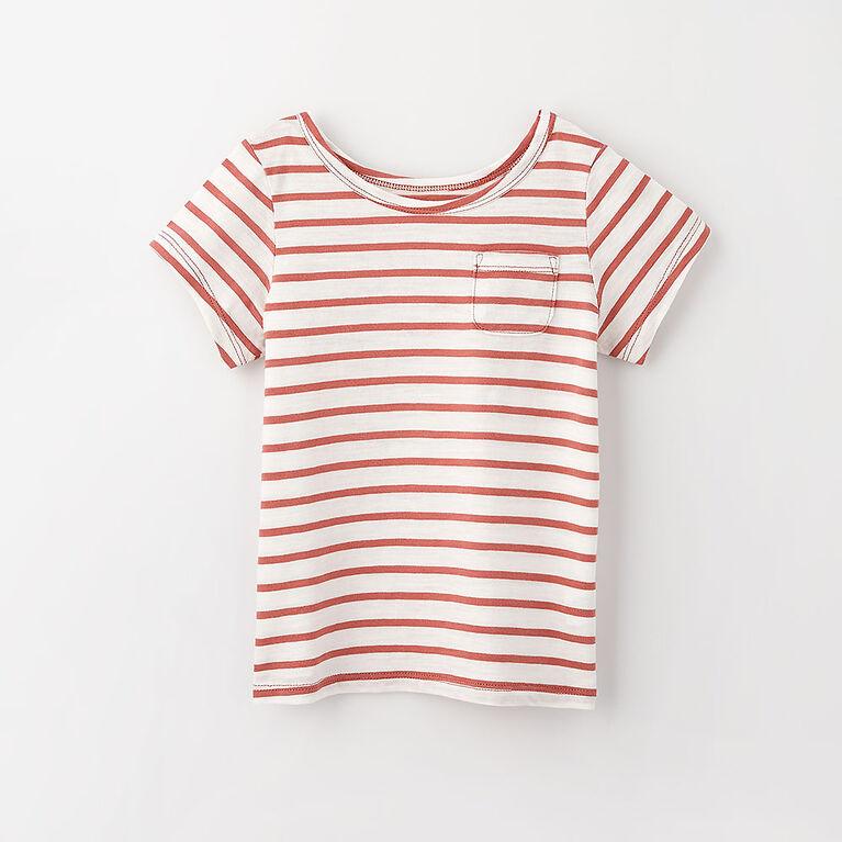 12-18m t-shirt à poche à manches courtes - rayures argile