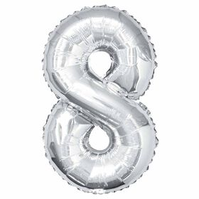 Silver Number 8 Shaped Foil Balloon 34""