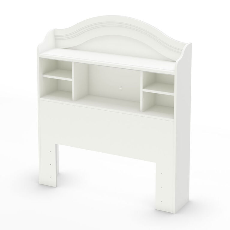 Savannah Bookcase Headboard with Storage- Pure White