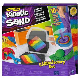 Kinetic Sand, Coffret Sandisfactory avec 907 g de Kinetic Sand coloré et noir, comprenant plus de 10 outils