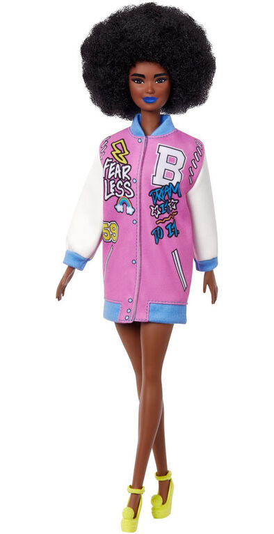 Barbie Fashionistas Doll with Brunette Afro & Blue Lips Wearing Graphic Coat Dress & Yellow Shoes
