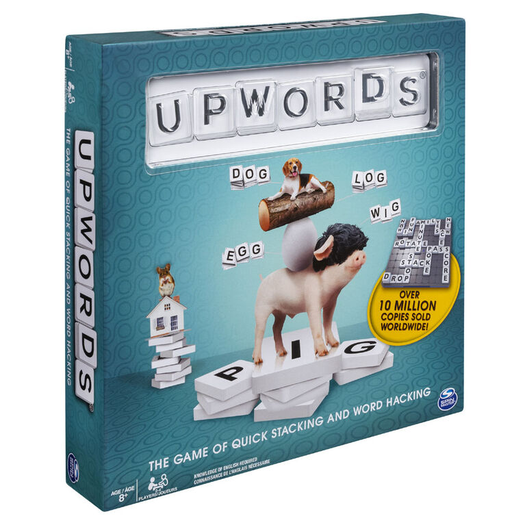 Upwords, Fun and Challenging Family Word Game with Stackable Letter Tiles